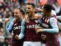 Aston Villa's Anwar El Ghazi celebrates scoring their second goal against Newcastle United in the Premier League on August 21, 2021