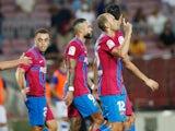 Barcelona's Martin Braithwaite celebrates scoring their third goal against Real Sociedad in La Liga on August 15, 2021