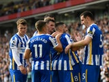 Brighton & Hove Albion's Neal Maupay celebrates scoring their second goal against Watford in the Premier League on August 21, 2021