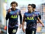 Tottenham Hotspur's Dele Alli celebrates scoring against Wolverhampton Wanderers in the Premier League on August 22, 2021