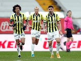 Fenerbahce's Ozan Tufan celebrates scoring their first goal against Besiktas in the Super Lig in March 2021