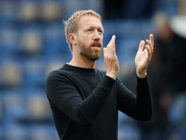 Brighton & Hove Albion manager Graham Potter celebrates after the match against Burnley on August 14, 2021
