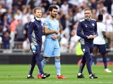 Ilkay Gundogan goes off injured for Manchester City against Tottenham Hotspur on August 15, 2021