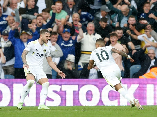 Leeds United's Raphinha celebrates scoring against Everton in the Premier League on August 21, 2021