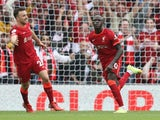 Liverpool's Sadio Mane celebrates scoring against Burnley in the Premier League on August 21, 2021