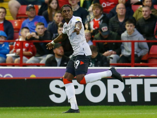 Luton Town's Amari'i Bell celebrates scoring their first goal against Barnsley in the Championship on August 17, 2021