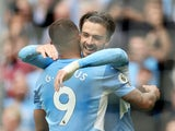 Manchester City's Jack Grealish celebrates scoring their second goal against Norwich City in the Premier League on August 21, 2021