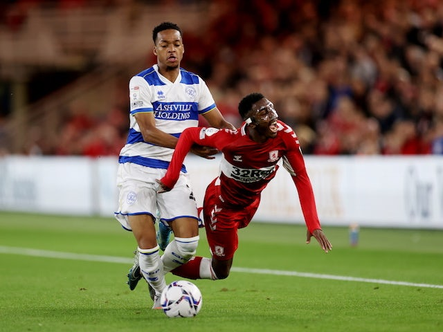 Middlesbrough's Isaiah Jones in action with QPR's Chris Willock in the Championship on August 18, 2021