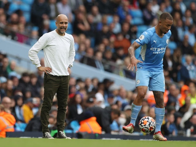 Manchester City's Gabriel Jesus and Pep Guardiola pictured on August 21, 2021