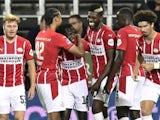 PSV Eindhoven's Bruma celebrates scoring their first goal against FC Midtjylland on August 10, 2021