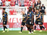RB Leipzig's Brian Brobbey and teammates look dejected after the match against Mainz 05 on August 15, 2021