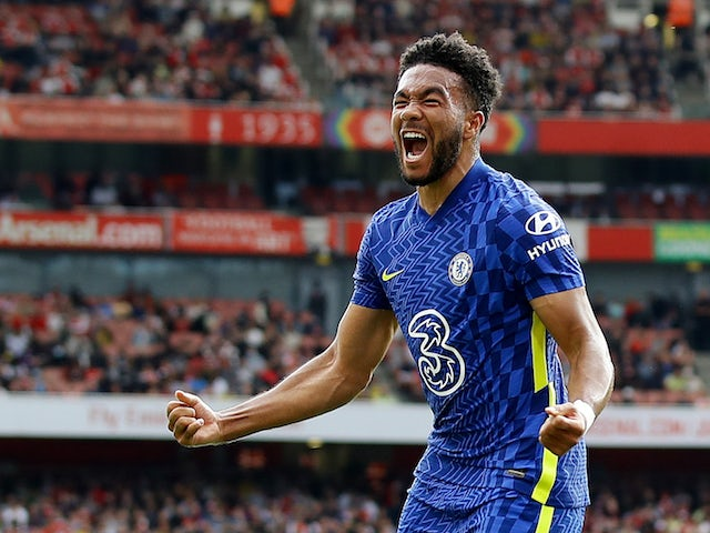 Chelsea's Reece James celebrates scoring against Arsenal in the Premier League on August 22, 2021