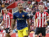 Manchester United's Mason Greenwood celebrates scoring against Southampton in the Premier League on August 22, 2021