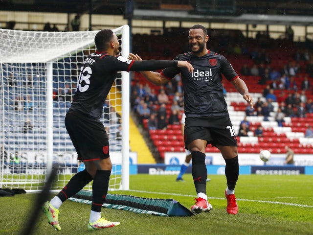 West Bromwich Albion's Matty Phillips celebrates scoring against Blackburn Rovers in the Championship on August 21, 2021