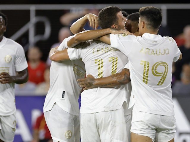 Atlanta United FC forward Josef Martinez (7) celebrates with teammates after scoring a goal against DC United at Audi Field on August 24, 2021