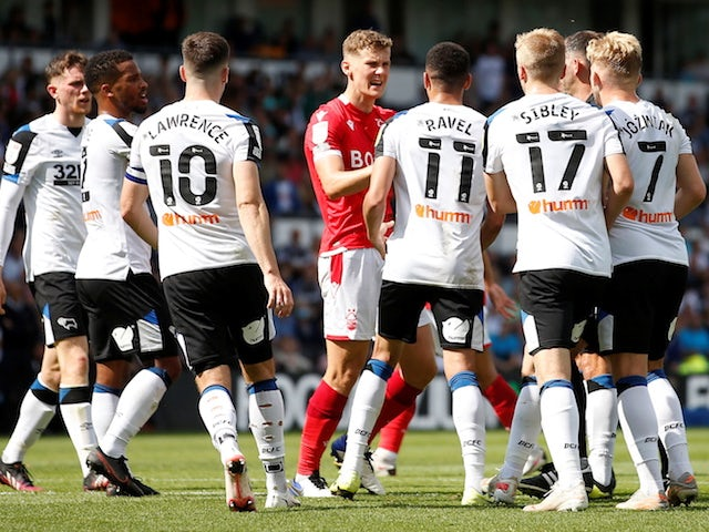 Derby County and Nottingham Forest players clash on August 28, 2021