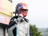 George Russell celebrates after qualifying second for the Belgian Grand Prix on August 28, 2021