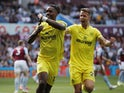 Brentford's Ivan Toney celebrates scoring their first goal with Kristoffer Ajer on August 28, 2021