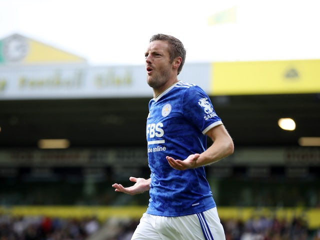 Leicester City's Jamie Vardy celebrates scoring their first goal on August 28, 2021