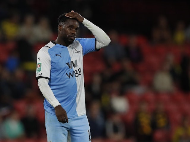 Crystal Palace's Jeffrey Schlupp looks dejected after the match on August 24, 2021
