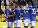 Leicester City's Marc Albrighton celebrates scoring their second goal with teammates on August 28, 2021
