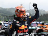 Red Bull's Max Verstappen celebrates qualifying in pole position at the Belgian Grand Prix on August 28, 2021