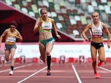 Isabelle Foerder of Germany, Isis Holt of Australia and Maria Lyle of Britain in action at the Paralympics on August 27, 2021