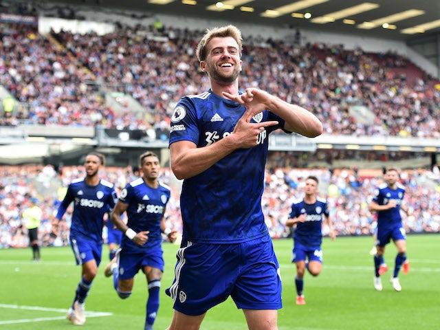 Leeds United's Patrick Bamford celebrates scoring their first goal on August 29, 2021