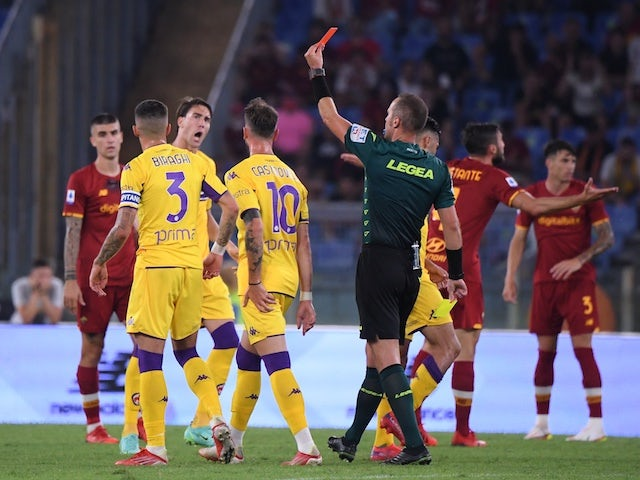 Roma's Nicolo Zaniolo is shown a red card by referee Luca Pairetto on August 22, 2021