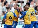 Southampton's James Ward-Prowse celebrates scoring their second goal with teammates on August 28, 2021