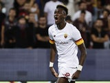 Tammy Abraham celebrates scoring for Roma on August 29, 2021