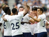 Tottenham Hotspur's Son Heung-min celebrates scoring their first goal with teammates on August 29, 2021