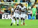 Udinese trio Gerard Deulofeu, Stefano Okaka and Samir celebrating their second goal on August 22, 2021