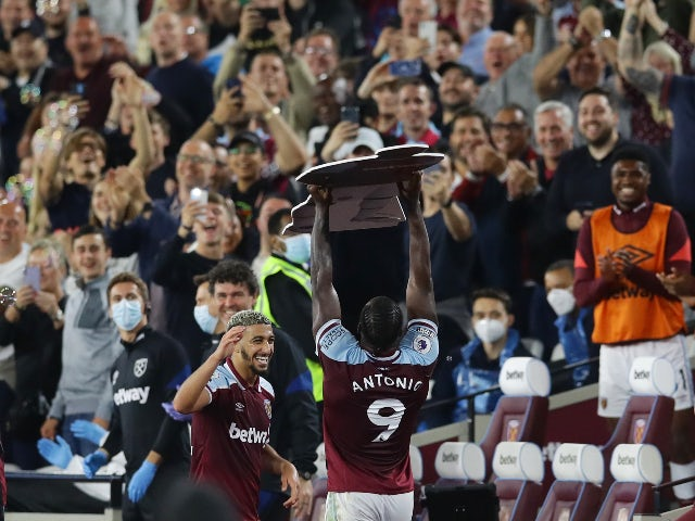 Michail Antonio celebrates scoring for West Ham United against Leicester City in the Premier League on August 23, 2021
