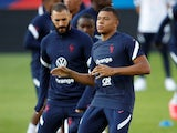 Kylian Mbappe and Karim Benzema training for France on August 31, 2021