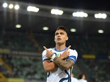 Inter Milan's Lautaro Martinez celebrates scoring their first goal against Hellas Verona on August 27, 2021