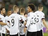 Germany's Leroy Sane celebrates scoring against Liechtenstein on September 2, 2021