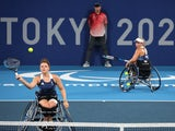 Jordanne Whiley of Britain and Lucy Shuker of Britain in action at the Paralympic Games on September 4, 2021