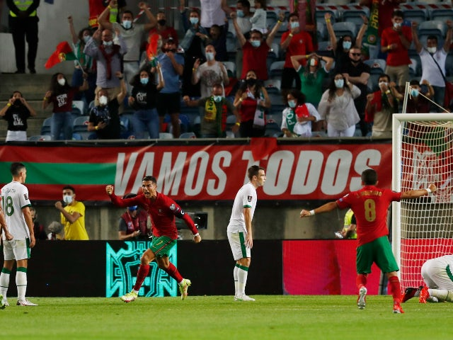 Cristiano Ronaldo celebrates his record-breaking goal for Portugal against the Republic of Ireland in a World Cup qualifier on September 1, 2021
