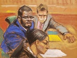 R Kelly in a courtroom sketch on August 30, 2021