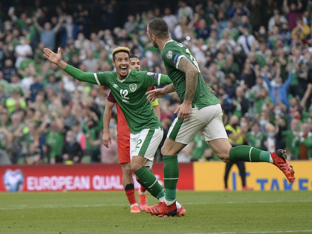 Republic of Ireland's Shane Duffy celebrates scoring against Azerbaijan on September 4, 2021