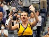 Simona Halep celebrates at the US Open on September 1, 2021