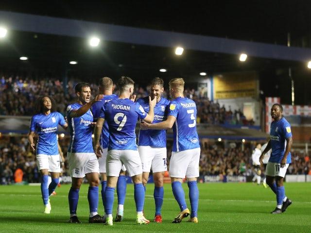 Birmingham City's Scott Hogan celebrates scoring their first goal against Derby County in the Championship on September 10, 2021
