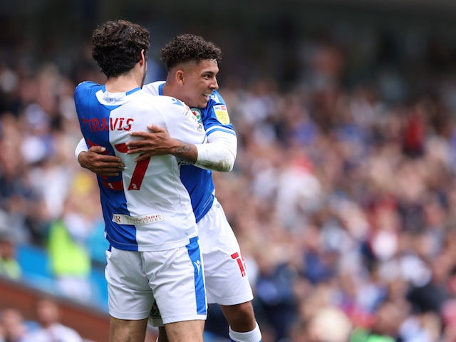 Blackburn Rovers' Tyrhys Dolan celebrates scoring their first goal on September 11, 2021