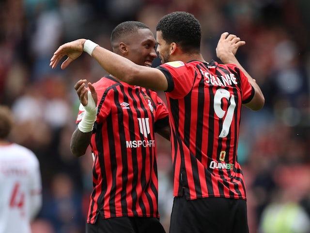 Bournemouth's Dominic Solanke celebrates scoring their second goal on September 11, 2021