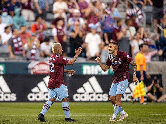 Colorado Rapids forward Michael Barrios (12) celebrates his goal with forward Andre Shinyashiki (9) in the second half against the Los Angeles Galaxy at Dick's Sporting Goods Park on September 11, 2021