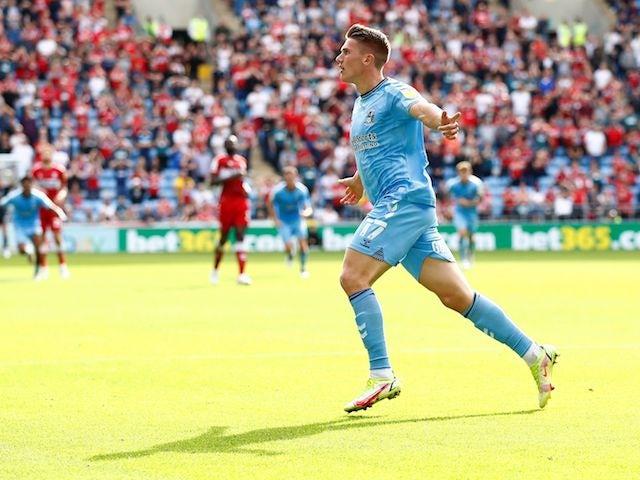 Coventry City's Viktor Gyokeres celebrates scoring their first goal on September 11, 2021