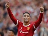 Manchester United's Cristiano Ronaldo celebrates scoring against Newcastle United on September 11, 2021