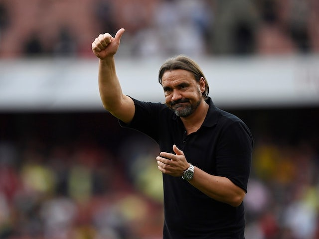 Norwich City manager Daniel Farke looks dejected after the match on September 11, 2021