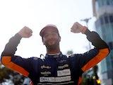 McLaren's Daniel Ricciardo celebrates after winning the Italian Grand Prix on September 12, 2021